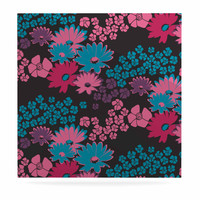 """Zara Martina Mansen """"Berry Color Bouquet"""" Teal Pink Luxe Square Panel"""