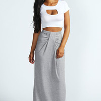 Delia Gathered Front Jersey Maxi Skirt