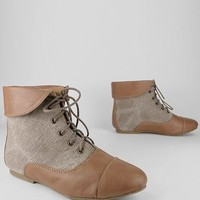 linen inset ankle boot $25.30 in BLACK TAN - New Shoes | GoJane.com