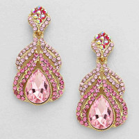 Pink Teardrop Evening Earrings