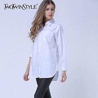 TWOTWINSTYLE 4XL Striped Irregular Women's Blouses Shirts Long Sleeve Plus Size Tops Lapel Female Shirt Casual Clothing Fashion