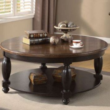 Riverside Furniture Delcastle Round Cocktail Table in Antique Irish Pine and Aged Black - 41204 - Accent Tables - Decor