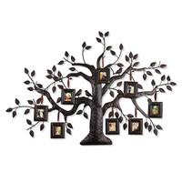 Furnistar Brown Black Decorative Collage Family Tree Bronze Iron Metal Wall Haning Collage Picture Photo Frame