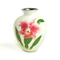 Japanese Iris Vase - Hand Painted, Gold & Silver Detailing Over Airbrush Floral, Ceramic Urn Style Vessel by Kokusui Japan - Vintage Home