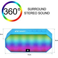 Ecandy Portable Wireless Bluetooth Speaker with Led, Built-in Microphone and Rechargeable battery for iPhone 6 Plus, iPad, Samsung Galaxy S5 S4, other Smartphones Tablets, Laptops, MP3 Players and other Bluetooth Enable Devices-Blue