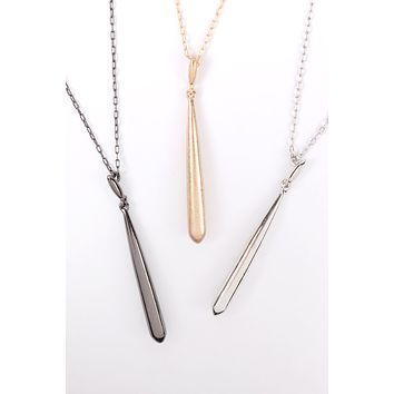 B4N2703 - METAL 3D BAR PENDANT NECKLACE
