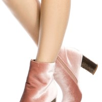 Mauve Velvet Chunky Ankle Booties @ Cicihot. Booties spell style, so if you want to show what you're made of, pick up a pair. Have fun experimenting with all we have to offer!