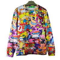 Classical 90's Rugrats/Pokemon 3d hoodies Cartoons Jumper sweatshirt long sleeve pullovers tops Drop Shipping