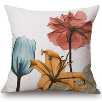 Free Shipping Custom Modern Minimalist Painting Flowers Printing Linen Cotton Decorative Pillow Cushion For Office Chair