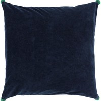 Velvet Poms Throw Pillow Blue, Green