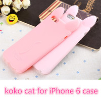 """3D koko cute Ear Cat Rabbit Case For IPhone 6 phone 6G 4.7"""" Soft Silicone cases Ear can Open the screen"""