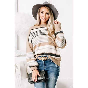 Don't Strike Out Striped Fuzzy Knit Sweater