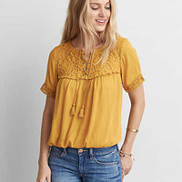 AEO Lace-Up Shirt , Gold