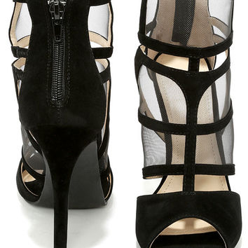 Sheer We Go Black Mesh Peep Toe Heels