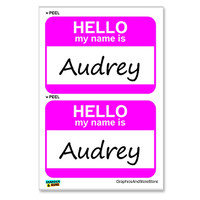 Audrey Hello My Name Is - Sheet of 2 Stickers