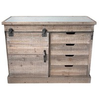 Vintage Distressed Refined Farmhouse Side Board with Sliding Doors -- Metal and Fir Wood 47 x 23-1/2-in