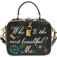 Dolce&Gabanna 'Small - Most Beautiful' Crystal Flower Embellished Leather Handbag | Nordstrom