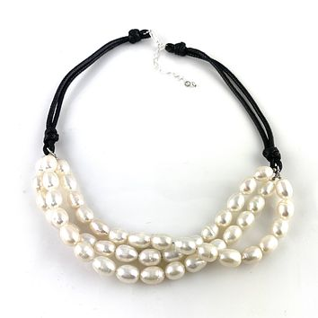 Pearls of Wisdom Leather Necklace