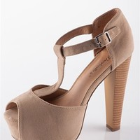 Peep Toe T-Strap Sandal Heel - Taupe from Sandals at Lucky 21 Lucky 21