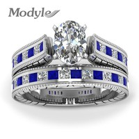 Modyle Silver Color Blue Crystal Ring Set Fashion Wedding & Engagement Ring Set Jewelry For Women