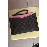 Louis Vuitton LV Fashion Women Monogram Print Leather Contrast Color Wallet Handbag