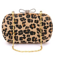 2017 Women Diamonds Bow Handbag Leopard Print Day Clutch Evening Bag For Wedding And Party 4 Color