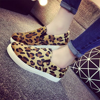2015 Fashion Women Leopard Fresh Casual Flat Loafers Slip On Board Shoes Elastic Single Shoes = 1741731780