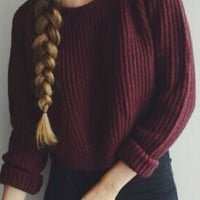 Wine Red Long Sleeve Knitted Short Sweater