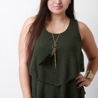 Feather Necklace Ruffled Knit Tiers Top