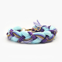 Mint and lilac friendship braid bracelet with chain, friendship bracelet from cotton