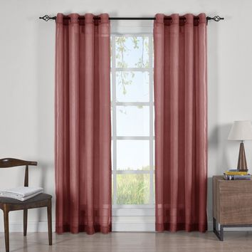 BURGUNDY Abri Grommet Crushed Sheer Curtain Panels (Two Panels )