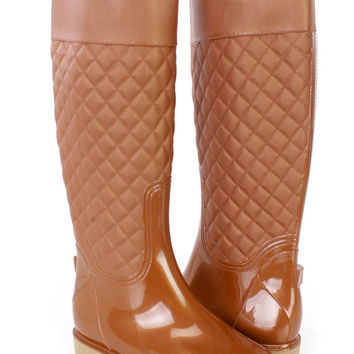 Tan Stitched Quilted Rain Boots Rubber