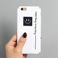 Fashion Ultra thin Letter Cover For iphone 7 Case Cute Smile Classic Black White Couples Phone Cases For iphone7 6 6S Plus-03129