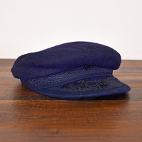 Vintage 70s Navy Blue Wool Hat Embroider Hat Brim Hat Greek Fisherman Cap Fisherman Hat Military Hat Hipster Hat Unisex Men Women 56 cm 7 M