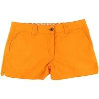 Reversible Women's Shorts in Orange and White Madras and Solid by Olde School Brand