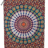 """Amitus Exports ® 1 X Peacock Flower Circle 84""""X54"""" Approx. Inches Orange Brown Multi Color Twin Size Cotton Fabric Multi-Purpose Handmade Tapestry Hippy Indian Mandala Throws Bohemian Tapestries"""