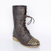 Spiked Up Combat Boots - Shoes