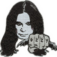 Ozzy Osbourne Iron-On Patch Face Fist Bat Logo