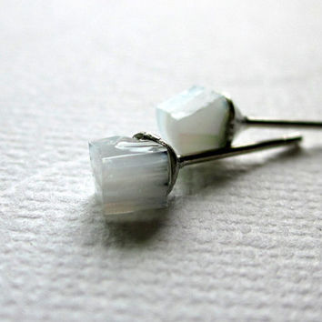White Cube Earrings White Nugget Stud Earrings AB White Earrings Tiny Studs Minimal Earrings Dainty Studs Small Stained Glass Earrings Tiny