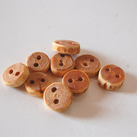 Cherry Wood Buttons - Cute Tiny Size Perfect for Babies Garments or Crafting Projects