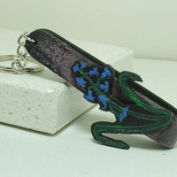 Blue Bells hand painted leather key fob Key Chain