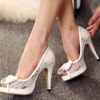 Handmade white lace shine leather Open top fish mouth wedding shoes Bride/Bridesmaids shoes transparent sandals high heels lace shoes