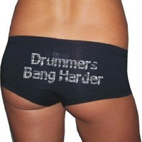 S.T.Ink Clothing Womens DRUMMERS BANG HARDER Black Boy Shorts