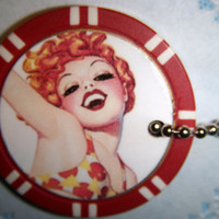 Dazzling & Playful Redhead In The Water -- Poker Chip Key Chain / Purse Charm --  2 Views --