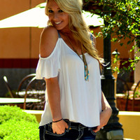 KISS MY SHOULDER BOHO TOP IN WHITE