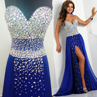 Tidetells Strapless Royal Blue Luxury Formal Long Prom Dresses Crystals Chiffon Evening Gowns Side Slit Prom Gown TT565 = 5738960449