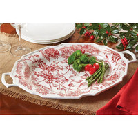 Holly Toile Large Oval Serving Platter by Mud Pie