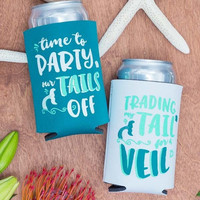 Mermaid Bachelorette Party Koozies | Trading my Tail for a Veil and Time to Party our Tails Off