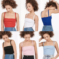 2016 sexy harajuku omighty unif vintage retro summer style pink tight knit halter camisole women tops 6 color backles tank tops