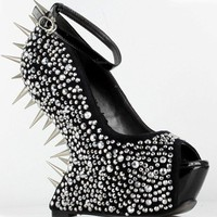 """Sexy 5.5"""" Wedge W/ Fully Spiked Back Peep-Toe Shoes #BP646-VIOLA"""